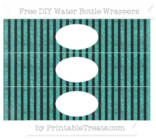 Free Turquoise Striped Chalk Style DIY Water Bottle Wrappers