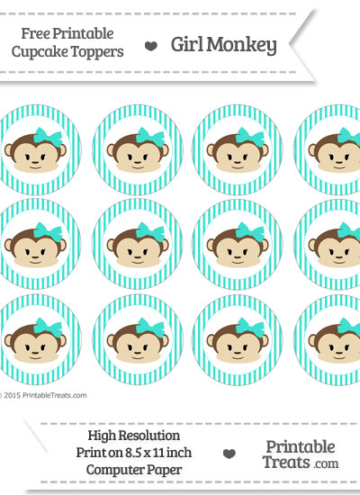 Free Turquoise Striped Girl Monkey Cupcake Toppers