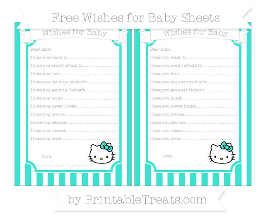 Free Turquoise Striped Hello Kitty Wishes for Baby Sheets