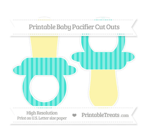 Free Turquoise Striped Large Baby Pacifier Cut Outs