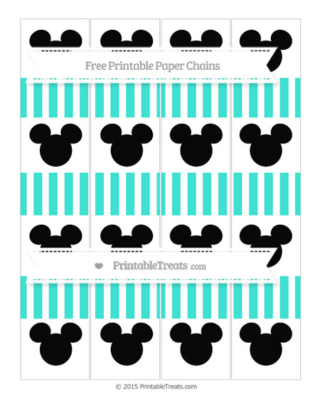 Free Turquoise Striped Mickey Mouse Paper Chains