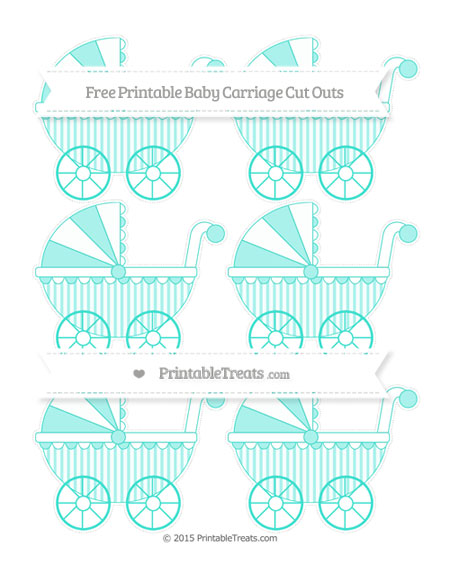 Free Turquoise Striped Small Baby Carriage Cut Outs