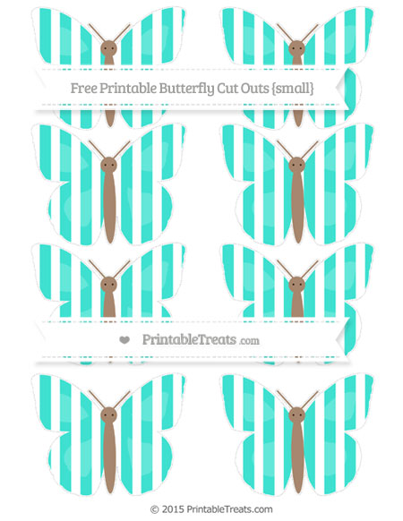 Free Turquoise Striped Small Butterfly Cut Outs