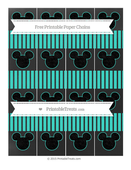 Free Turquoise Thin Striped Pattern Chalk Style Mickey Mouse Paper Chains