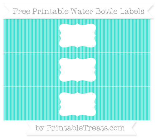 Free Turquoise Thin Striped Pattern Water Bottle Labels