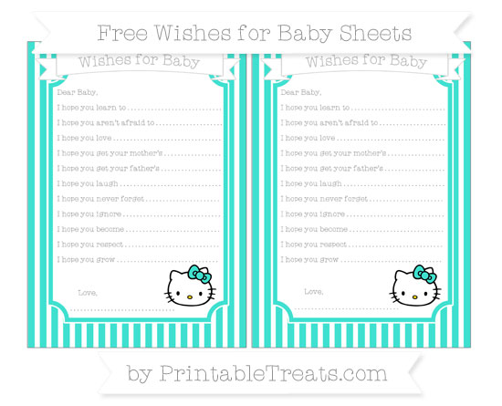 Free Turquoise Thin Striped Pattern Hello Kitty Wishes for Baby Sheets