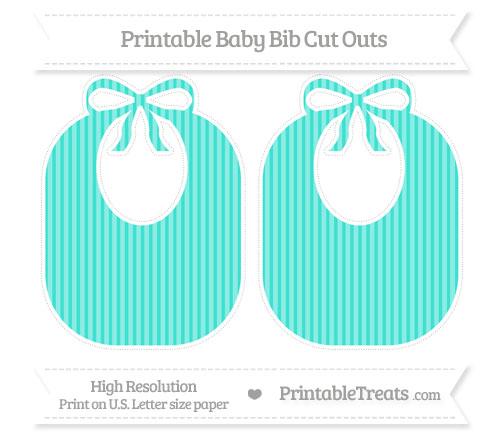 Free Turquoise Thin Striped Pattern Large Baby Bib Cut Outs