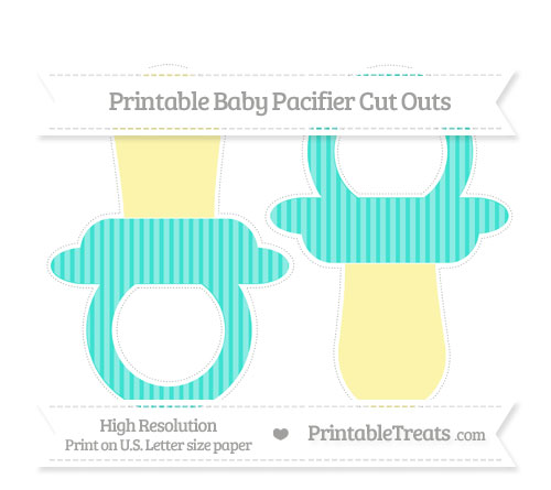 Free Turquoise Thin Striped Pattern Large Baby Pacifier Cut Outs