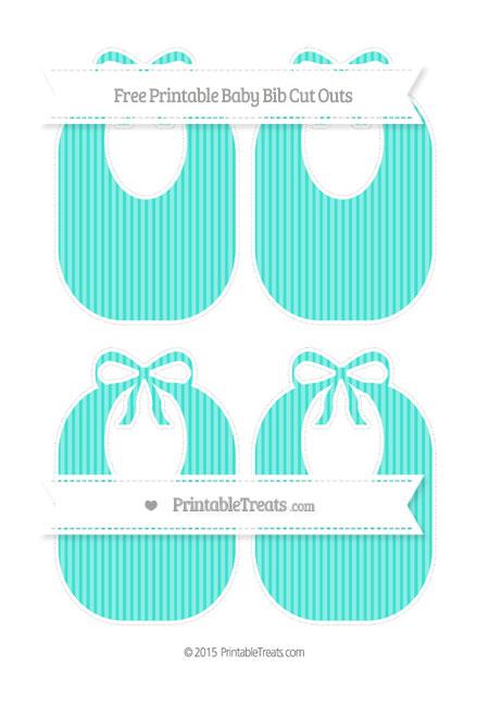 Free Turquoise Thin Striped Pattern Medium Baby Bib Cut Outs