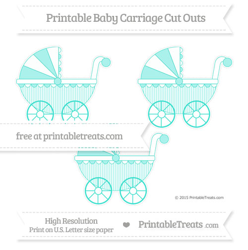 Free Turquoise Thin Striped Pattern Medium Baby Carriage Cut Outs