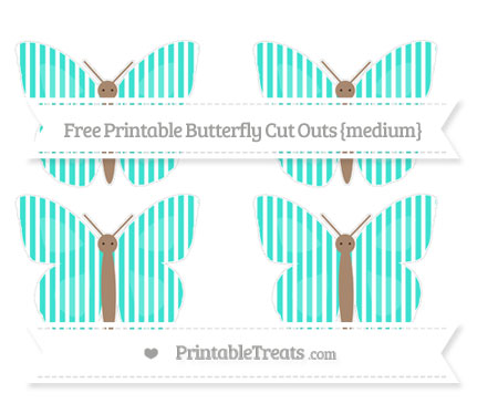 Free Turquoise Thin Striped Pattern Medium Butterfly Cut Outs