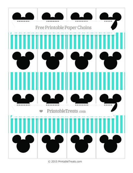 Free Turquoise Thin Striped Pattern Mickey Mouse Paper Chains