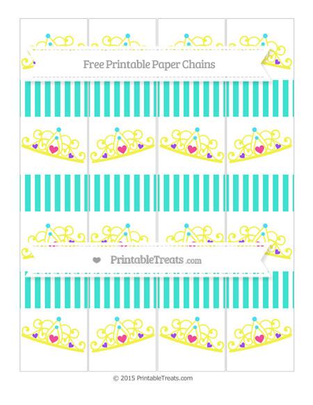 Free Turquoise Thin Striped Pattern Princess Tiara Paper Chains