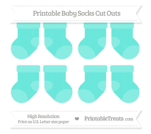 Free Turquoise Thin Striped Pattern Small Baby Socks Cut Outs