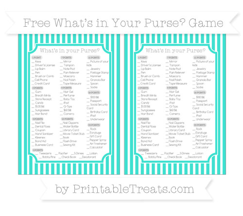 Free Turquoise Thin Striped Pattern What's in Your Purse Baby Shower Game