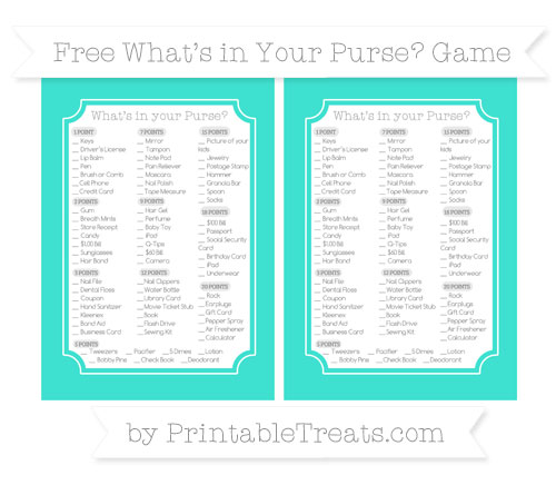 Free Turquoise What's in Your Purse Baby Shower Game