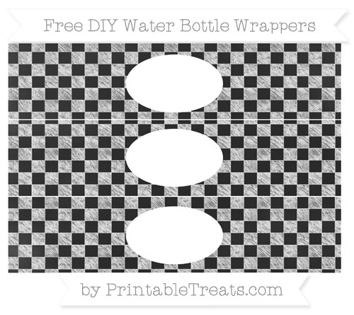 Free White Checker Pattern Chalk Style DIY Water Bottle Wrappers