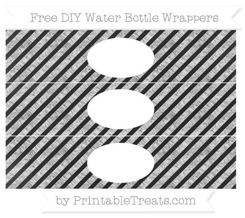 Free White Diagonal Striped Chalk Style DIY Water Bottle Wrappers