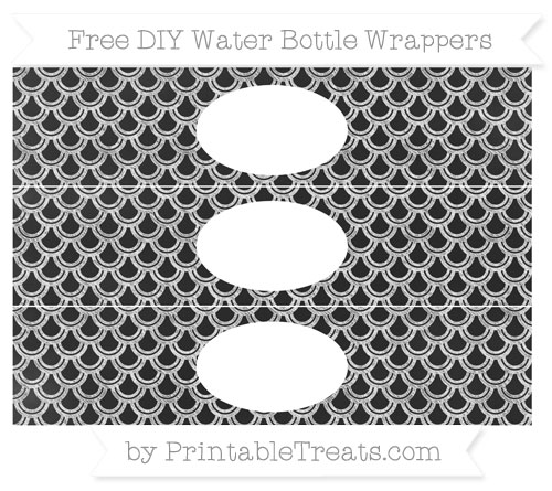 Free White Fish Scale Pattern Chalk Style DIY Water Bottle Wrappers