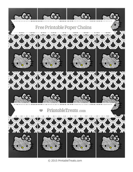 Free White Fish Scale Pattern Chalk Style Hello Kitty Paper Chains