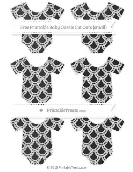 Free White Fish Scale Pattern Chalk Style Small Baby Onesie Cut Outs