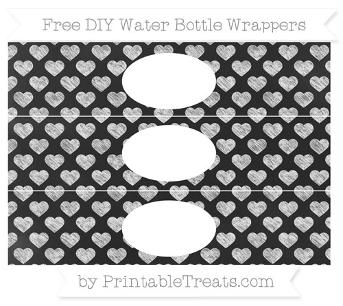 Free White Heart Pattern Chalk Style DIY Water Bottle Wrappers