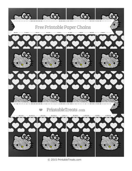 Free White Heart Pattern Chalk Style Hello Kitty Paper Chains