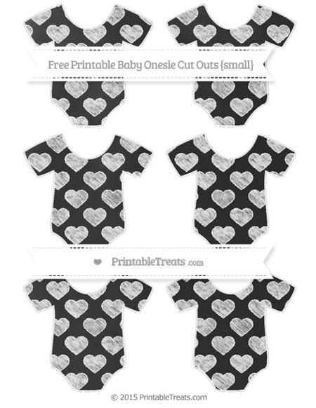 Free White Heart Pattern Chalk Style Small Baby Onesie Cut Outs