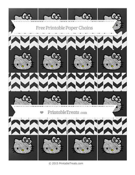 Free White Herringbone Pattern Chalk Style Hello Kitty Paper Chains