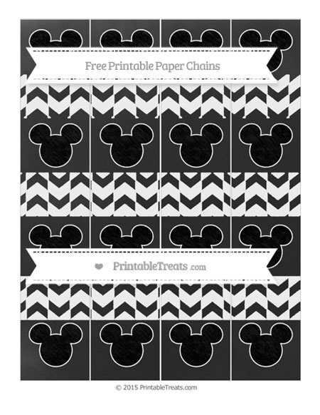 Free White Herringbone Pattern Chalk Style Mickey Mouse Paper Chains
