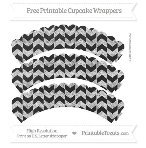 Free White Herringbone Pattern Chalk Style Scalloped Cupcake Wrappers