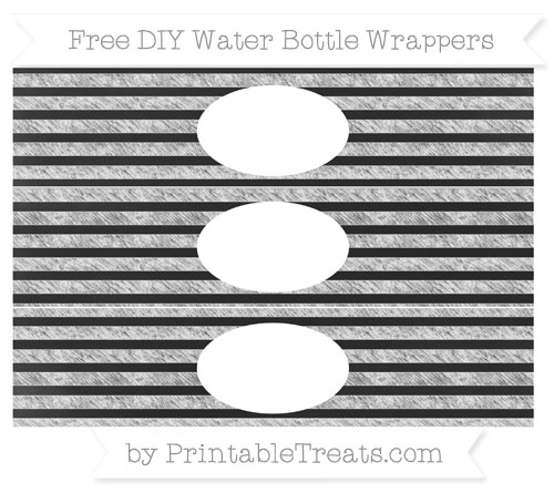 Free White Horizontal Striped Chalk Style DIY Water Bottle Wrappers