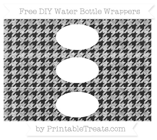 Free White Houndstooth Pattern Chalk Style DIY Water Bottle Wrappers