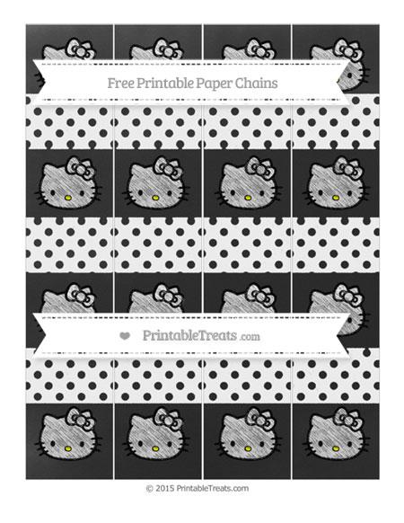 Free White Polka Dot Chalk Style Hello Kitty Paper Chains