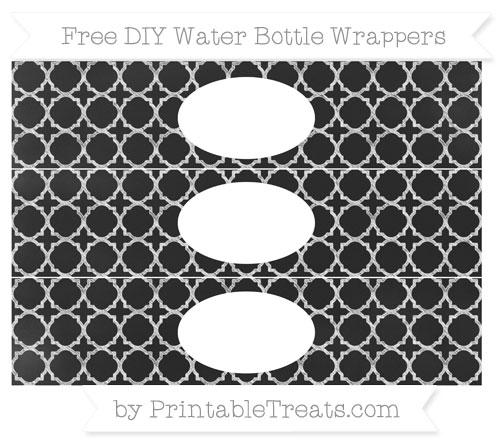 Free White Quatrefoil Pattern Chalk Style DIY Water Bottle Wrappers