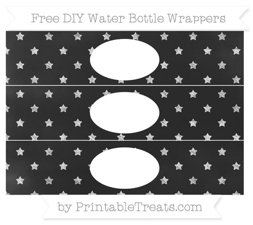 Free White Star Pattern Chalk Style DIY Water Bottle Wrappers