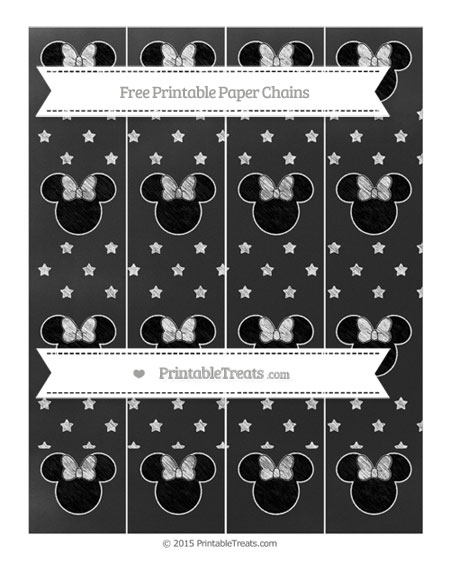 Free White Star Pattern Chalk Style Minnie Mouse Paper Chains