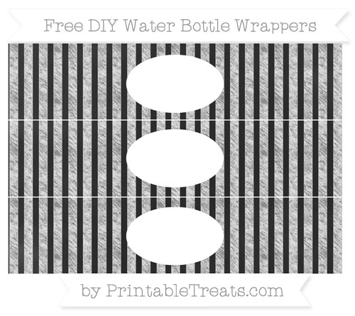 Free White Striped Chalk Style DIY Water Bottle Wrappers