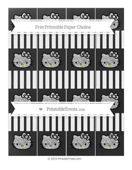 Free White Striped Chalk Style Hello Kitty Paper Chains
