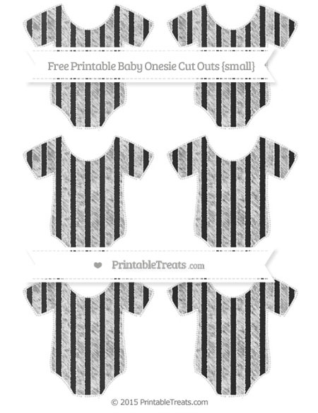 Free White Striped Chalk Style Small Baby Onesie Cut Outs