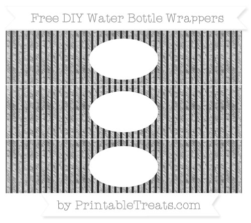 Free White Thin Striped Pattern Chalk Style DIY Water Bottle Wrappers