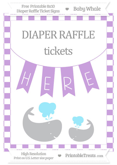 Free Wisteria Checker Pattern Baby Whale 8x10 Diaper Raffle Ticket Sign