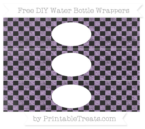 Free Wisteria Checker Pattern Chalk Style DIY Water Bottle Wrappers