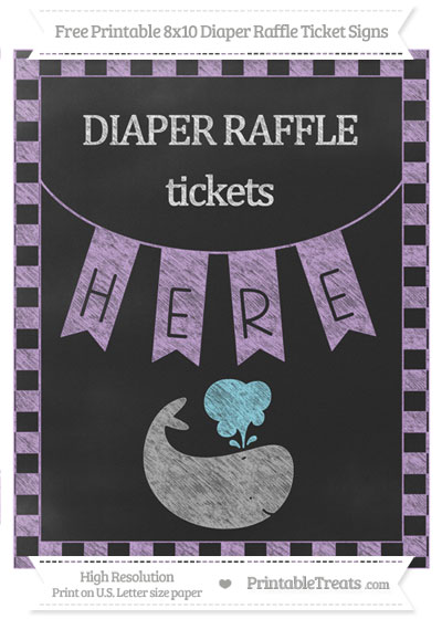 Free Wisteria Checker Pattern Chalk Style Whale 8x10 Diaper Raffle Ticket Sign