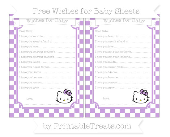 Free Wisteria Checker Pattern Hello Kitty Wishes for Baby Sheets