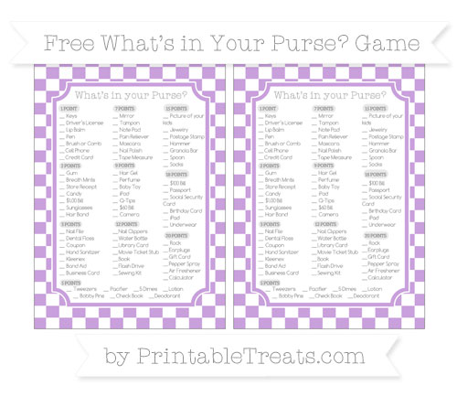 Free Wisteria Checker Pattern What's in Your Purse Baby Shower Game