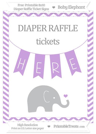 Free Wisteria Chevron Baby Elephant 8x10 Diaper Raffle Ticket Sign