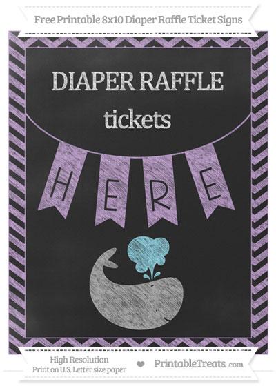 Free Wisteria Chevron Chalk Style Whale 8x10 Diaper Raffle Ticket Sign