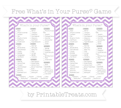 Free Wisteria Chevron What's in Your Purse Baby Shower Game