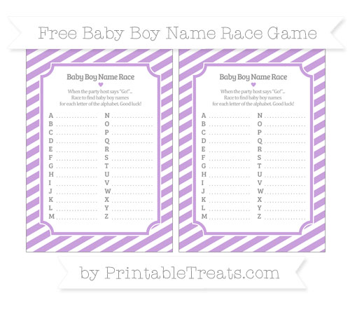 Free Wisteria Diagonal Striped Baby Boy Name Race Game